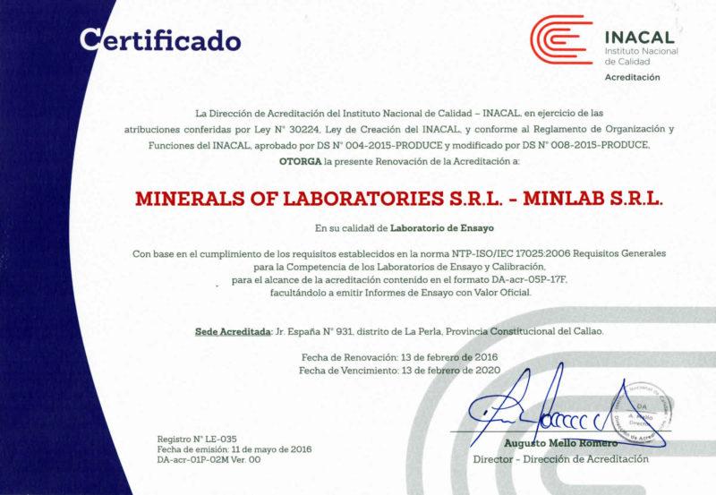 MINLAB | CERTIFICADO INACAL